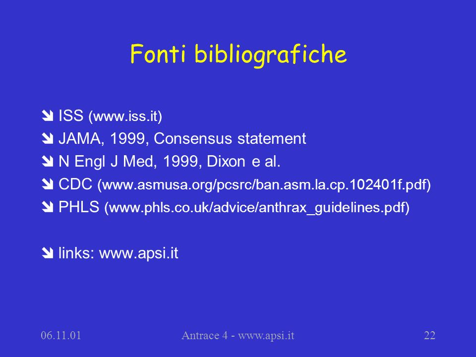 Fonti bibliografiche ISS (www.iss.it) JAMA, 1999, Consensus statement