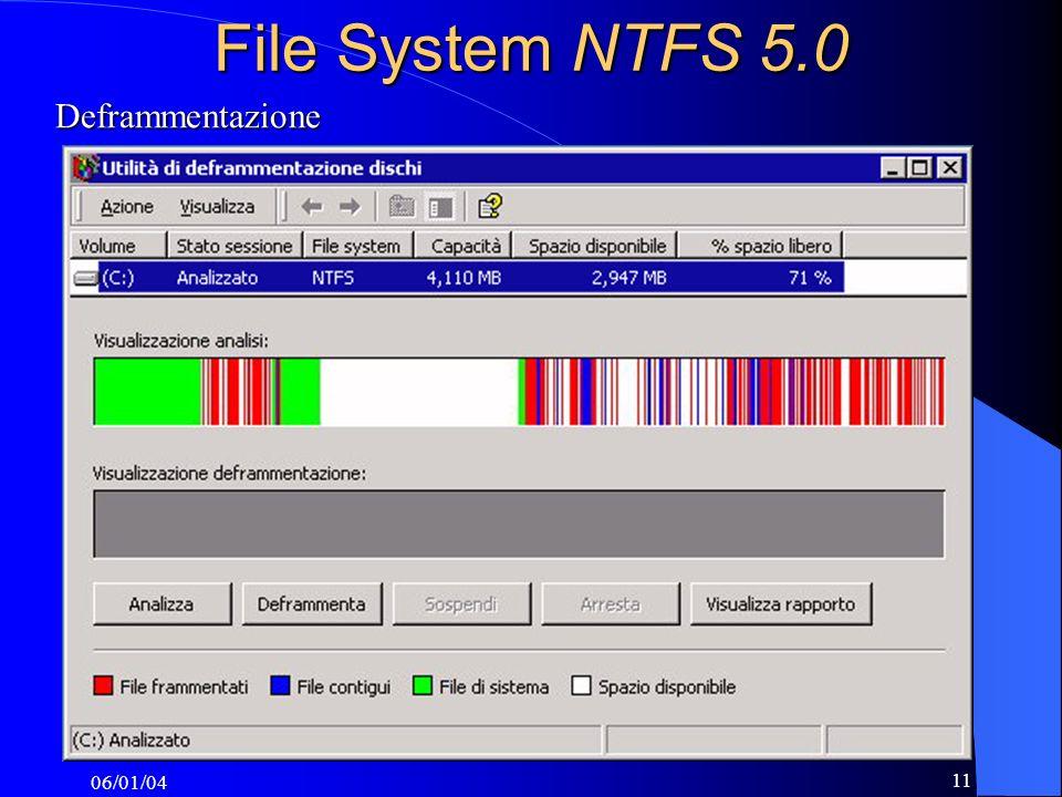 File System NTFS 5.0 Deframmentazione 06/01/04