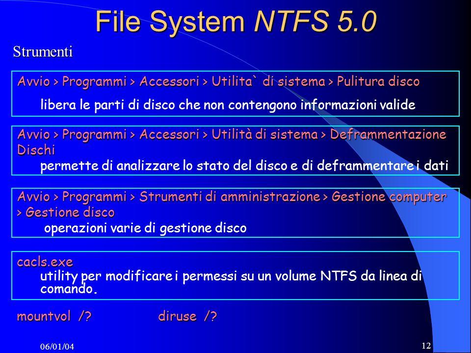 File System NTFS 5.0 Strumenti