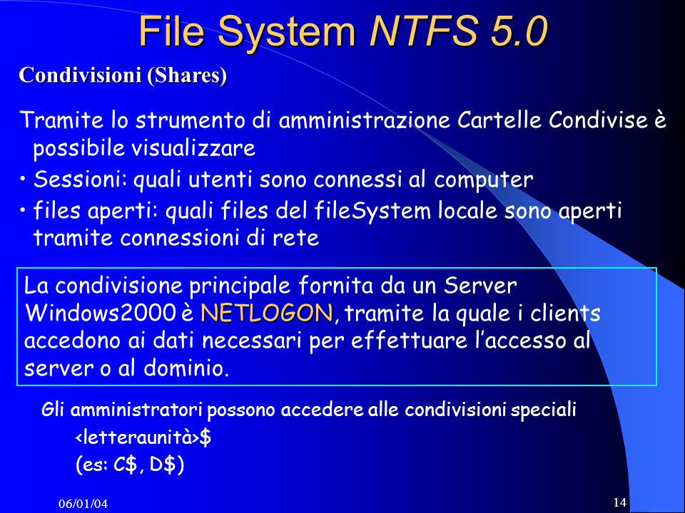 File System NTFS 5.0 Condivisioni (Shares)