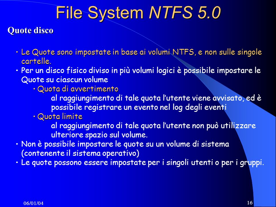 File System NTFS 5.0 Quote disco