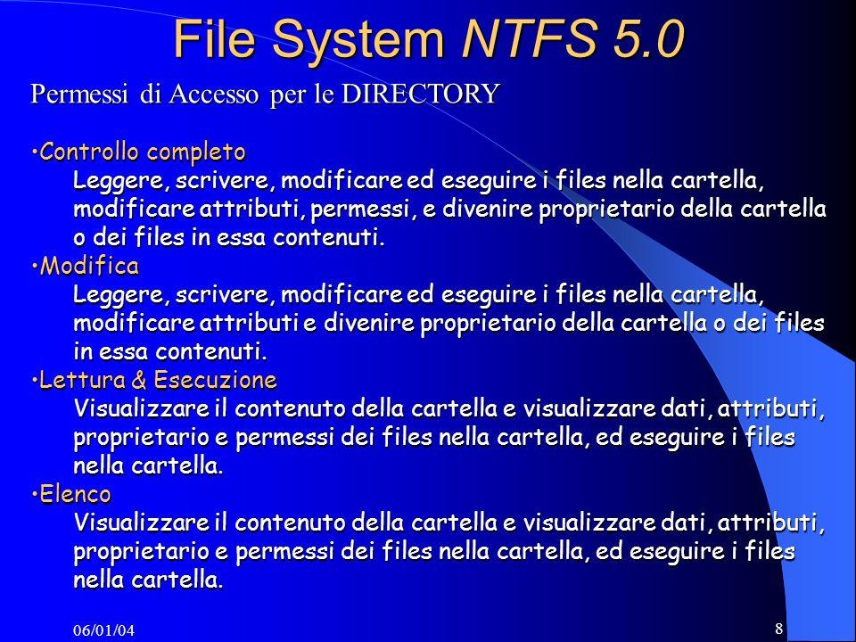 File System NTFS 5.0 Permessi di Accesso per le DIRECTORY