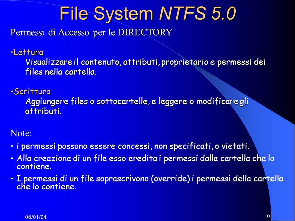 File System NTFS 5.0 Permessi di Accesso per le DIRECTORY Note: