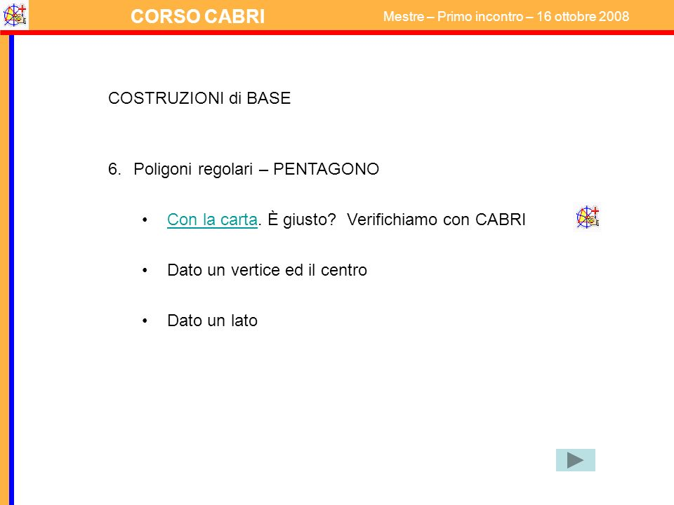COSTRUZIONI di BASE Poligoni regolari – PENTAGONO. Con la carta. È giusto Verifichiamo con CABRI.