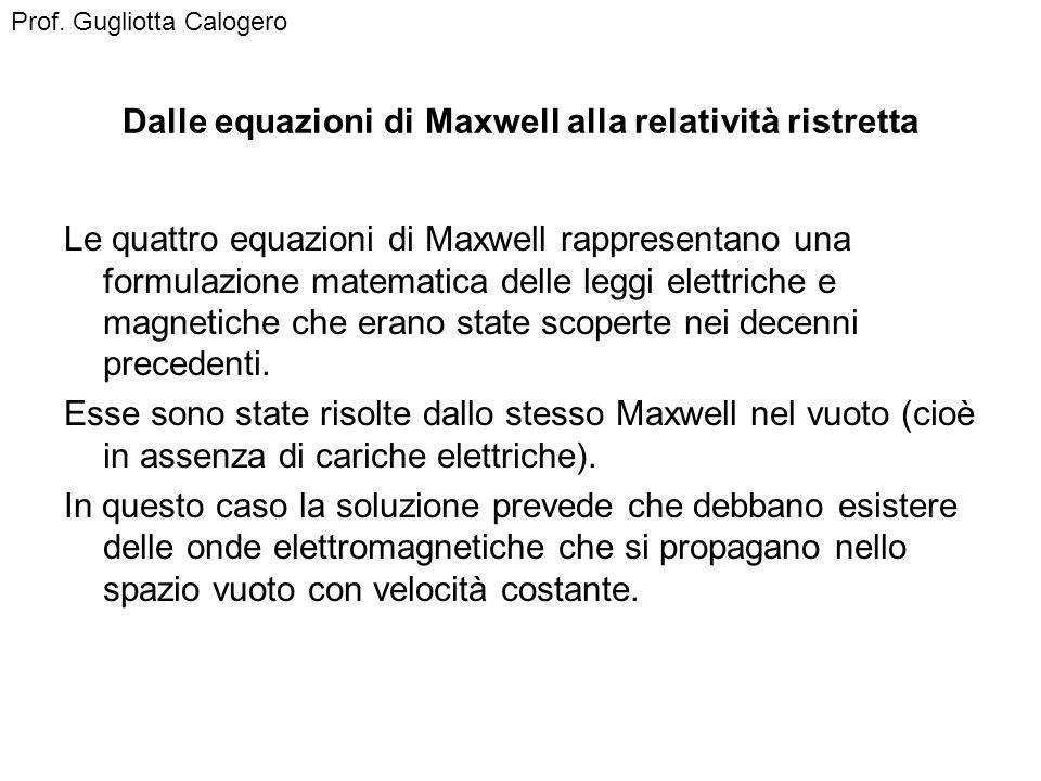 Dalle equazioni di Maxwell alla relatività ristretta