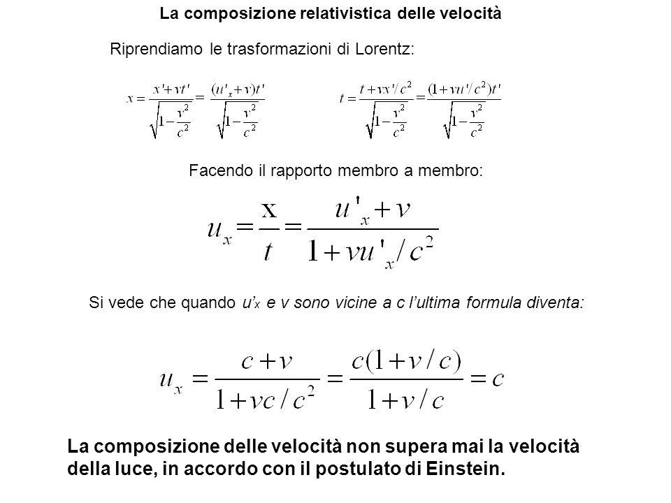 La composizione relativistica delle velocità