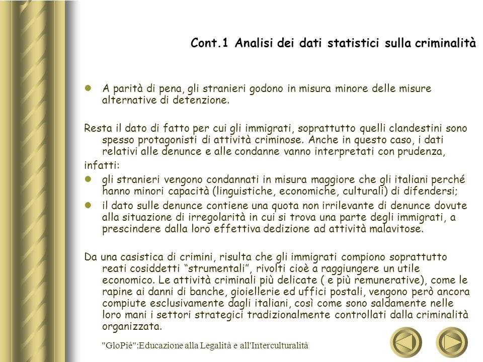 Cont.1 Analisi dei dati statistici sulla criminalità