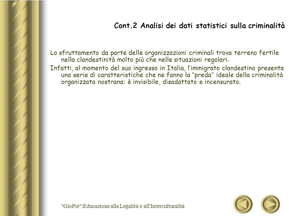 Cont.2 Analisi dei dati statistici sulla criminalità