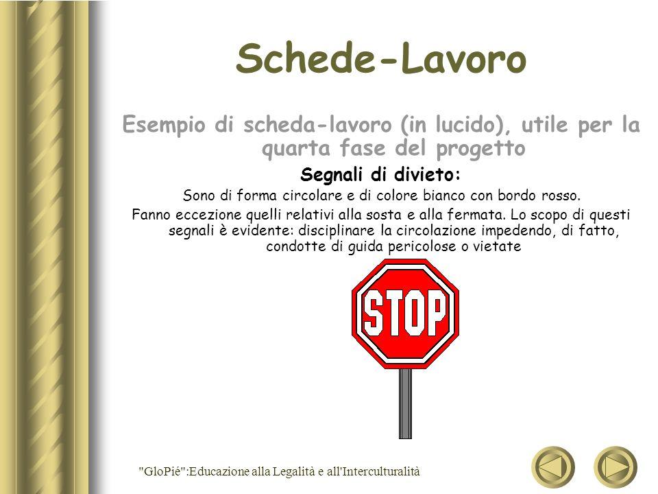 Schede-Lavoro Esempio di scheda-lavoro (in lucido), utile per la quarta fase del progetto. Segnali di divieto: