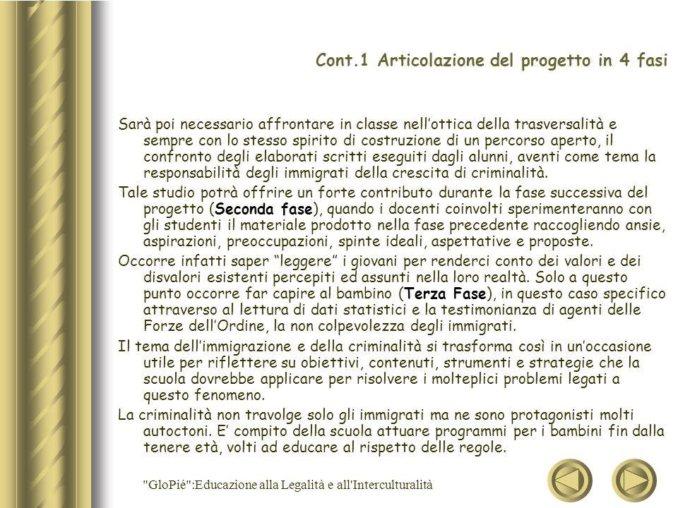 Cont.1 Articolazione del progetto in 4 fasi