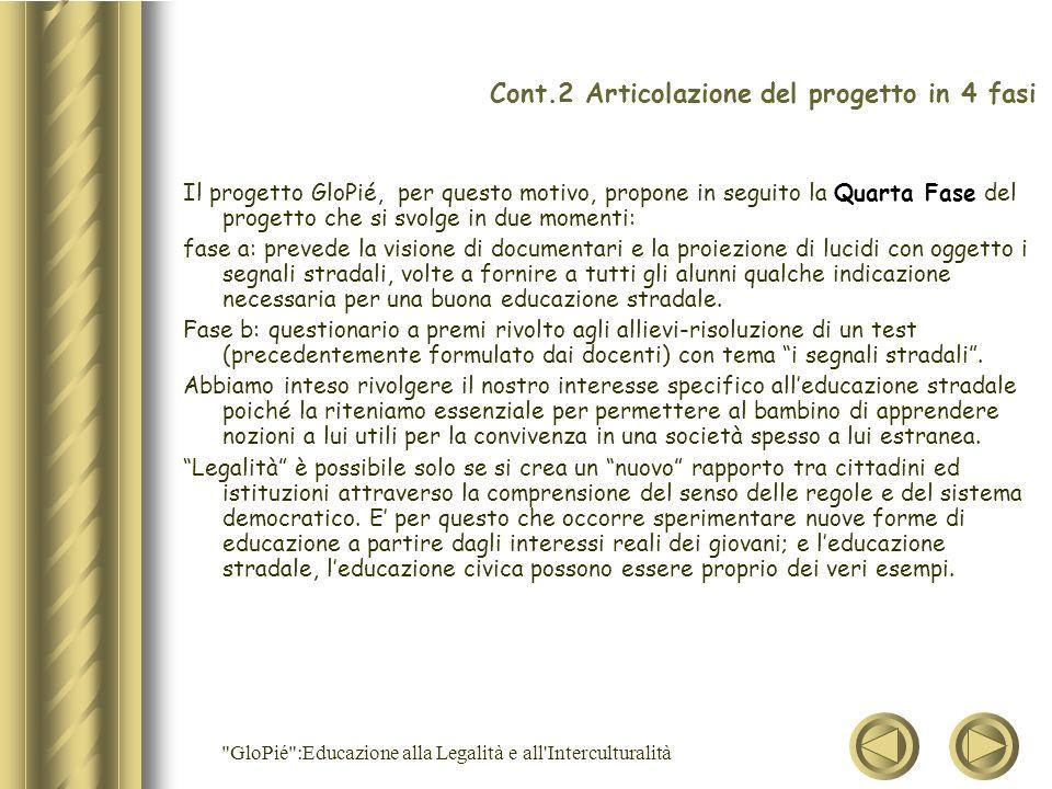 Cont.2 Articolazione del progetto in 4 fasi