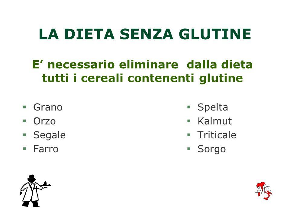 E' necessario eliminare dalla dieta tutti i cereali contenenti glutine