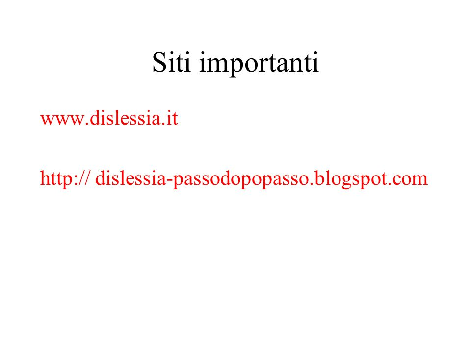 Siti importanti www.dislessia.it