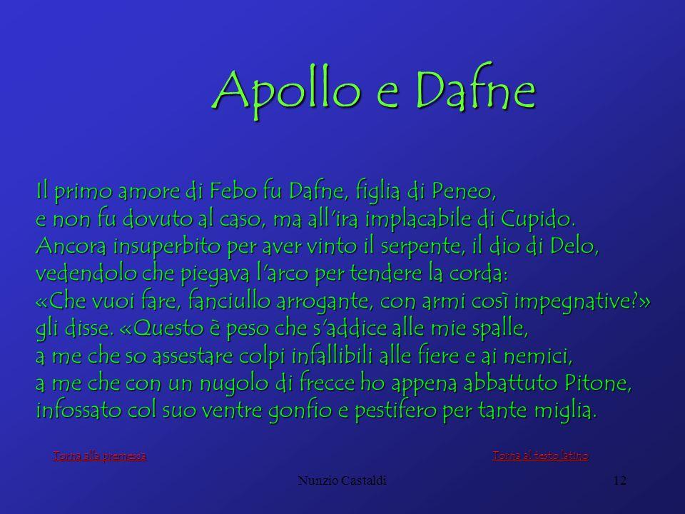 Apollo e Dafne Il primo amore di Febo fu Dafne, figlia di Peneo,