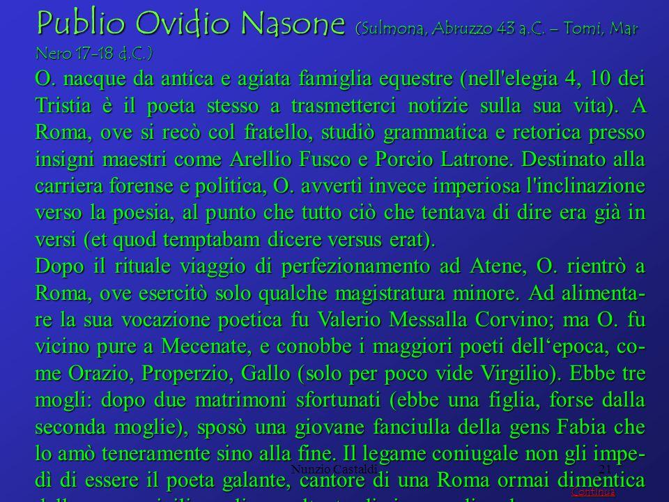 Publio Ovidio Nasone (Sulmona, Abruzzo 43 a. C