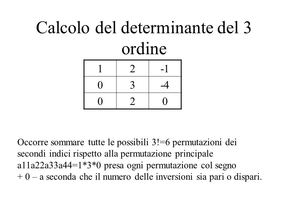 Calcolo del determinante del 3 ordine