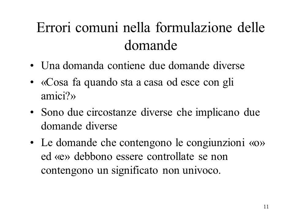 Errori comuni nella formulazione delle domande