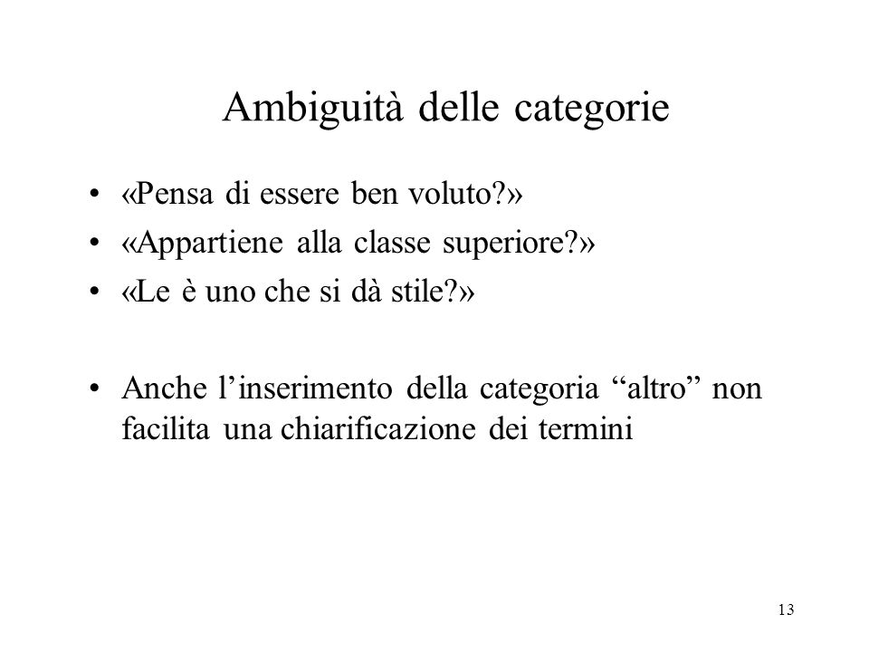 Ambiguità delle categorie