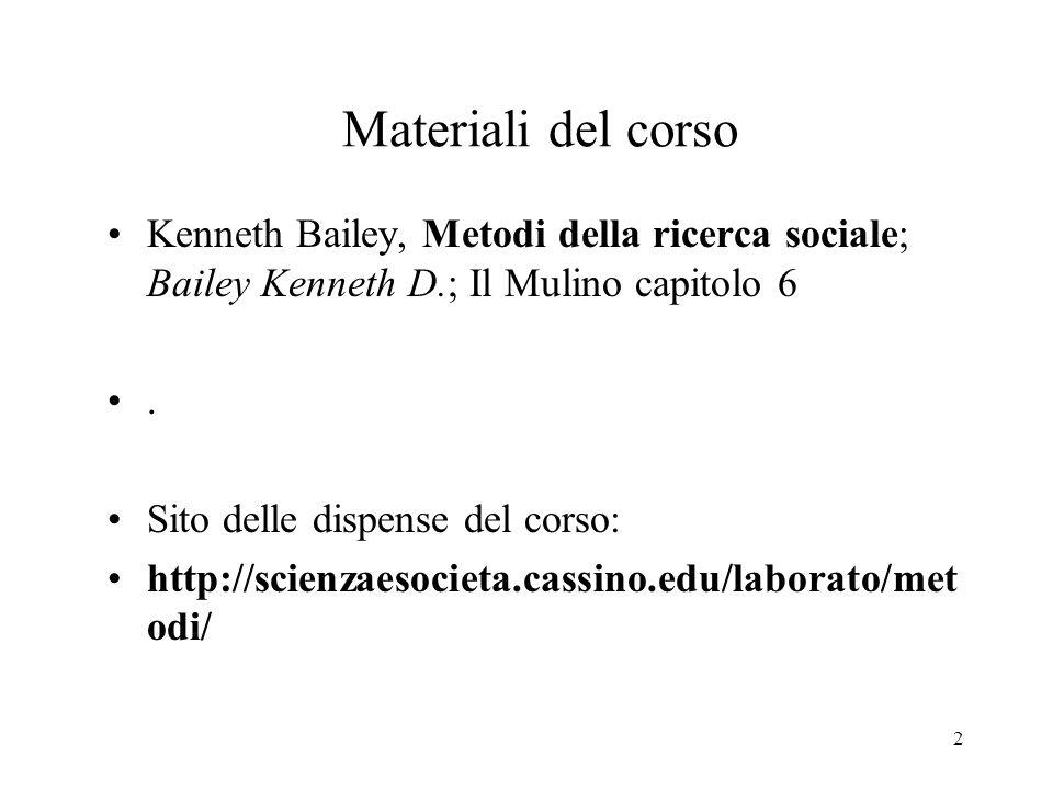 Materiali del corso Kenneth Bailey, Metodi della ricerca sociale; Bailey Kenneth D.; Il Mulino capitolo 6.