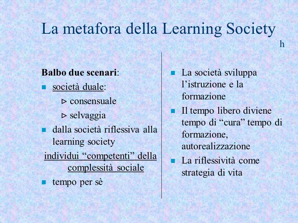 La metafora della Learning Society h
