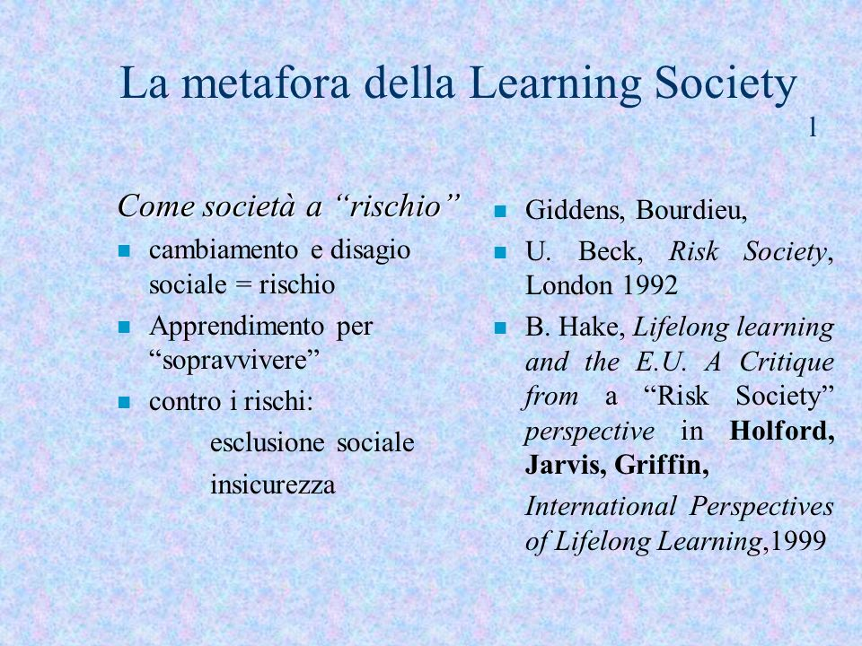 La metafora della Learning Society l