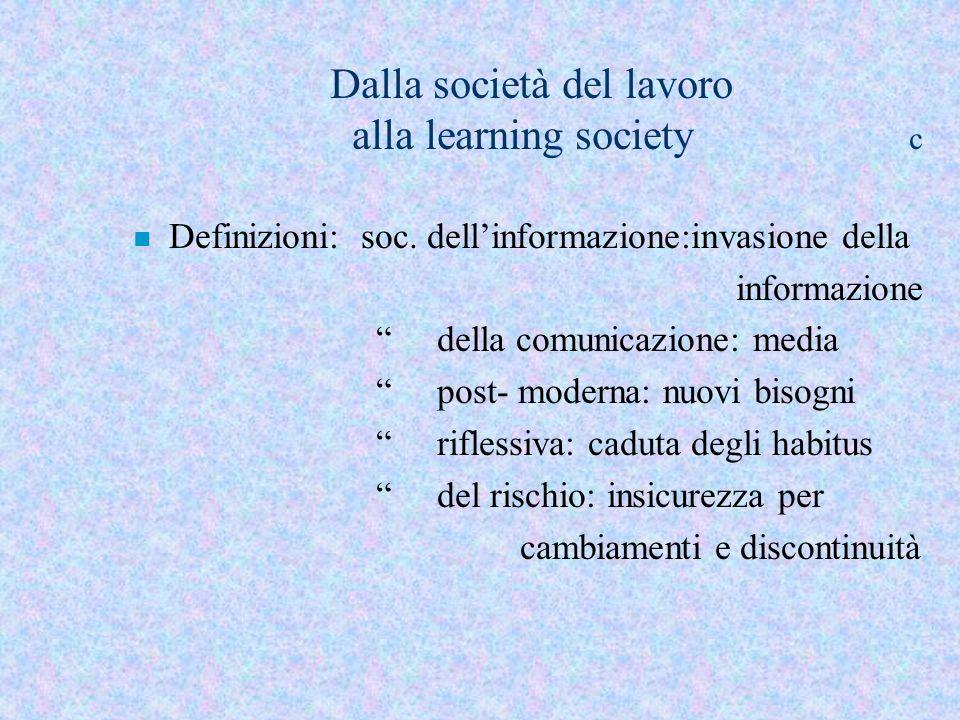 Dalla società del lavoro alla learning society c