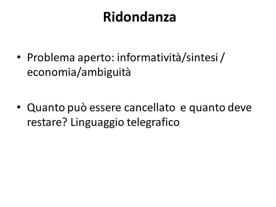 Ridondanza Problema aperto: informatività/sintesi / economia/ambiguità