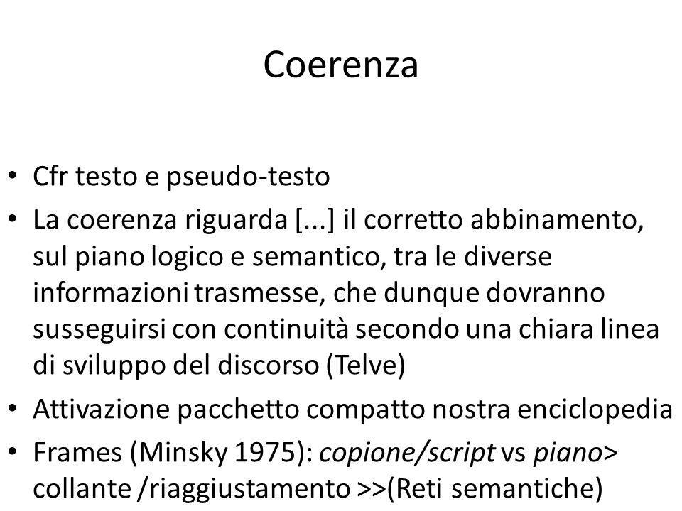 Coerenza Cfr testo e pseudo-testo
