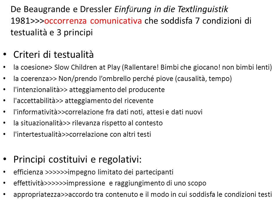 Principi costituivi e regolativi: