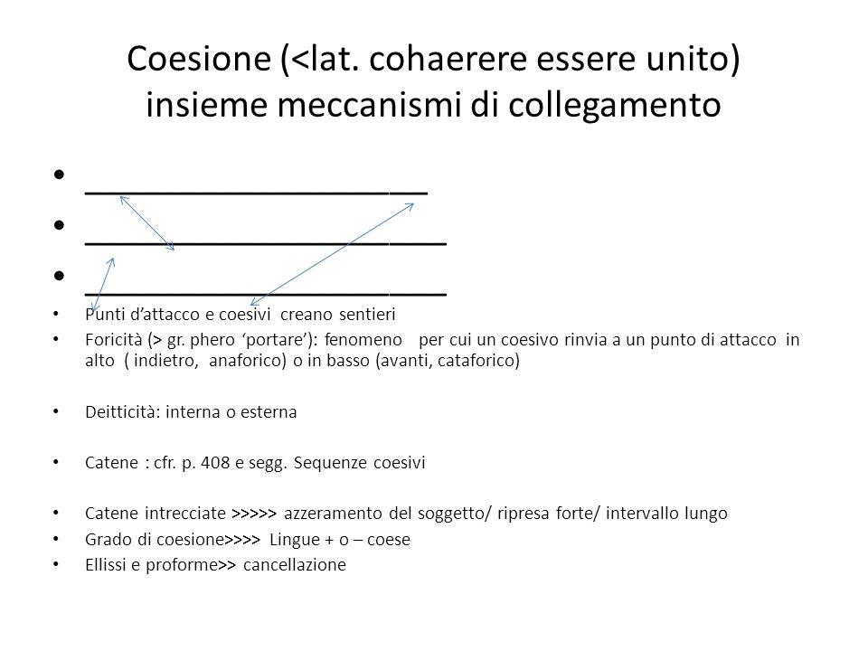 Coesione (<lat. cohaerere essere unito) insieme meccanismi di collegamento