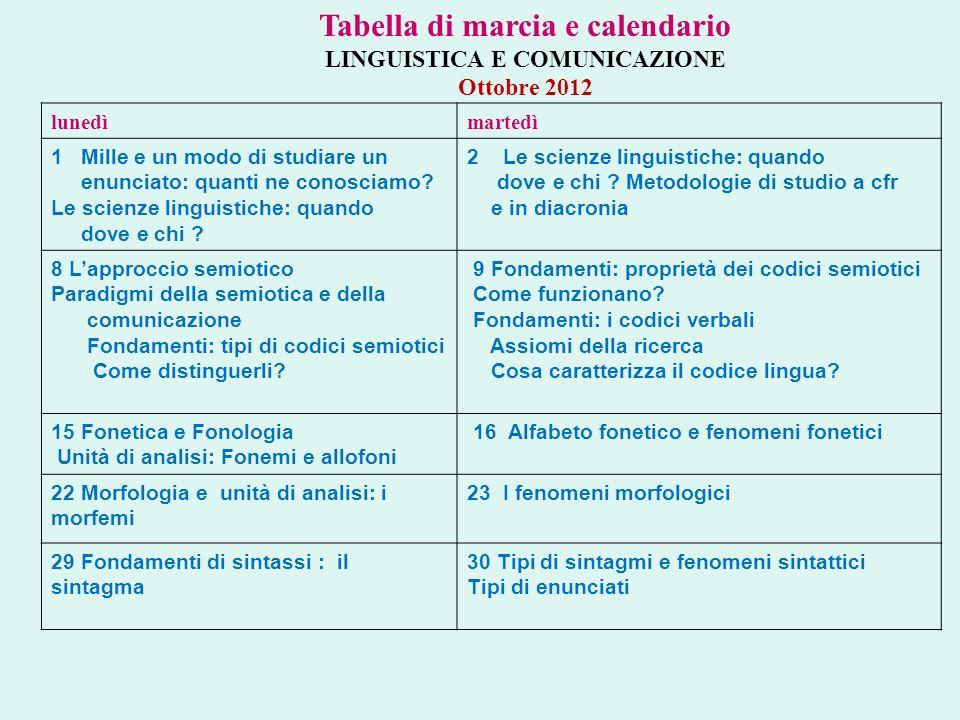 Tabella di marcia e calendario