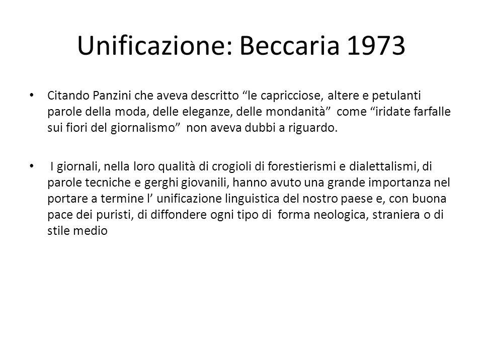 Unificazione: Beccaria 1973