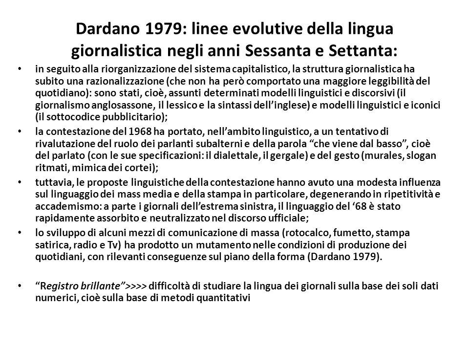 Dardano 1979: linee evolutive della lingua giornalistica negli anni Sessanta e Settanta: