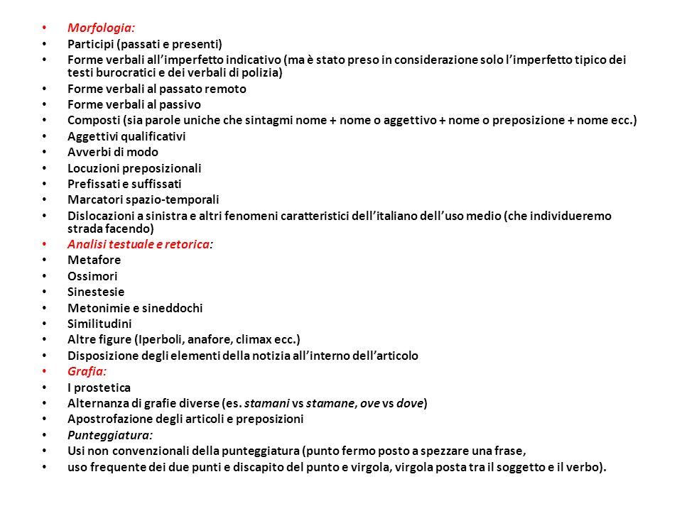 Morfologia: Participi (passati e presenti)