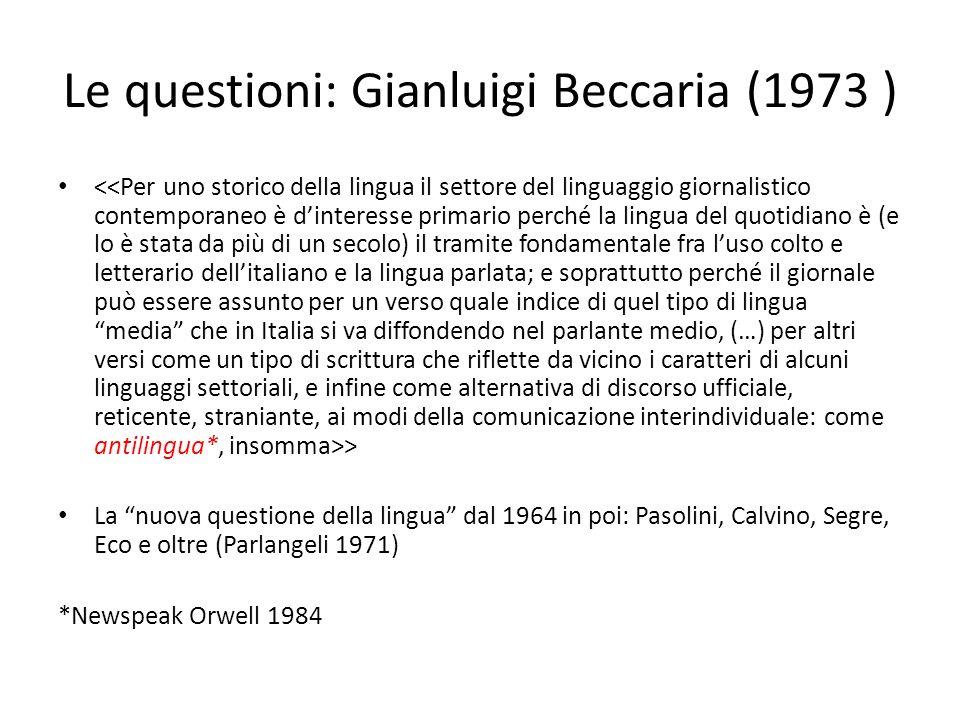 Le questioni: Gianluigi Beccaria (1973 )
