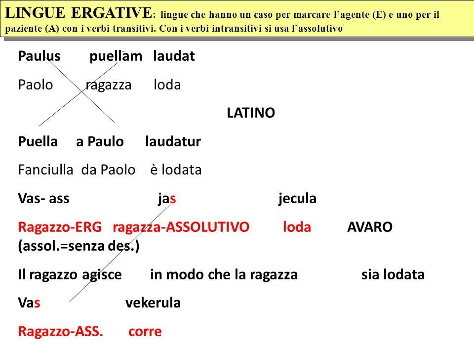 LINGUE ERGATIVE: lingue che hanno un caso per marcare l'agente (E) e uno per il paziente (A) con i verbi transitivi. Con i verbi intransitivi si usa l'assolutivo