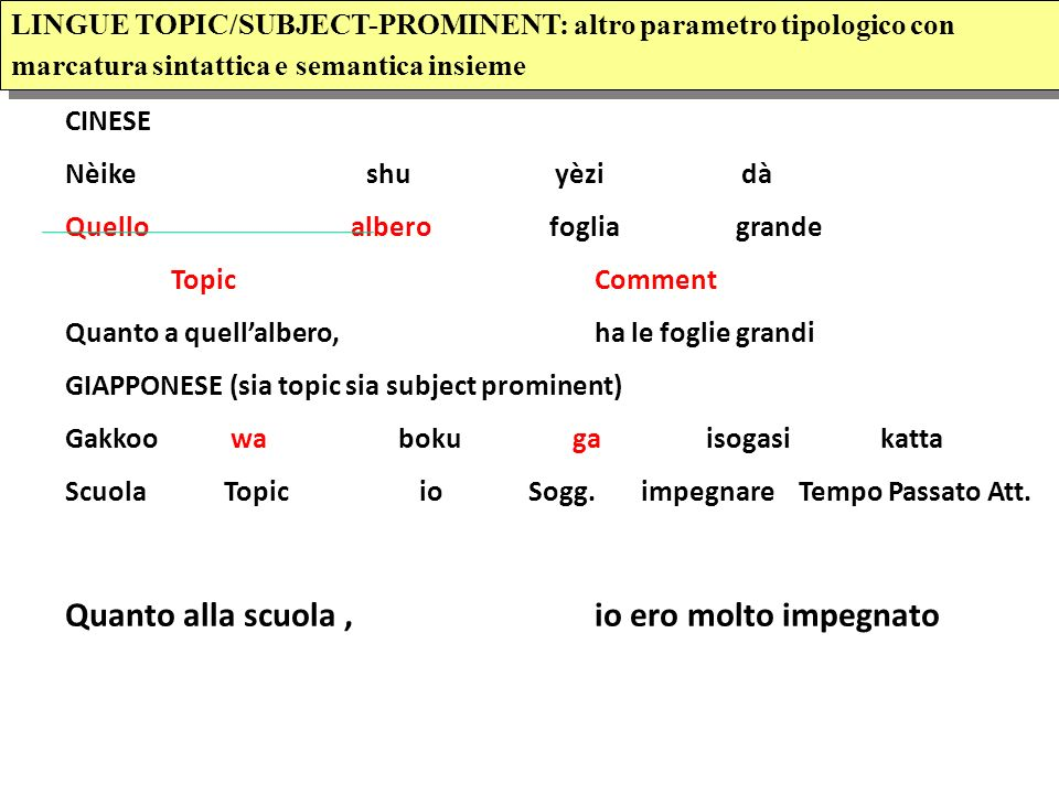 LINGUE TOPIC/SUBJECT-PROMINENT LINGUE TOPIC/SUBJECT-PROMINENT