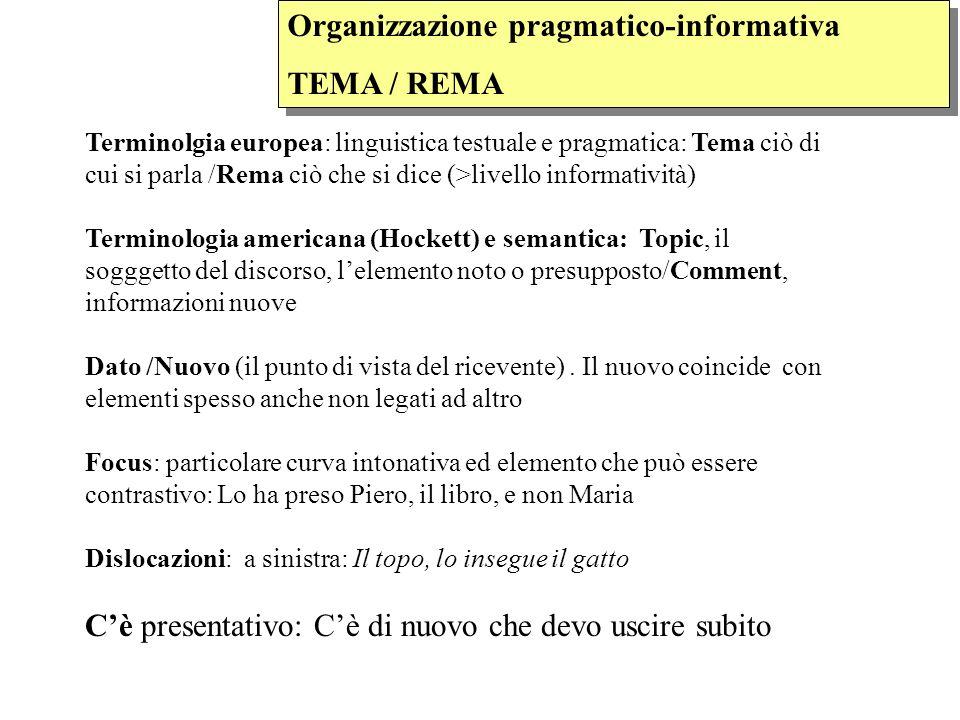 Organizzazione pragmatico-informativa TEMA / REMA