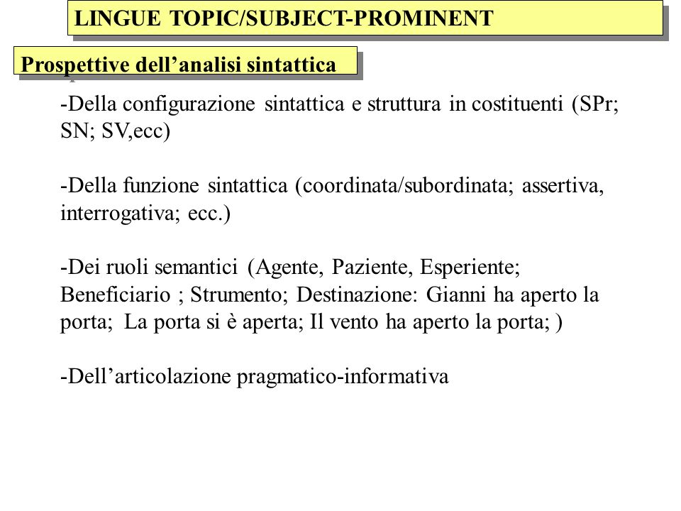 LINGUE TOPIC/SUBJECT-PROMINENT