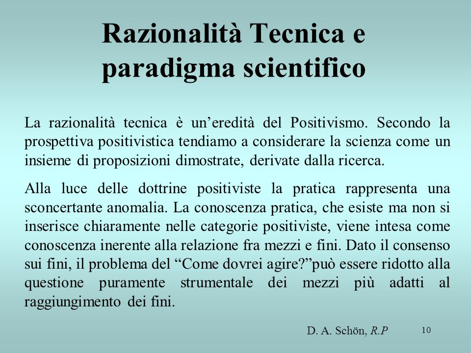 Razionalità Tecnica e paradigma scientifico
