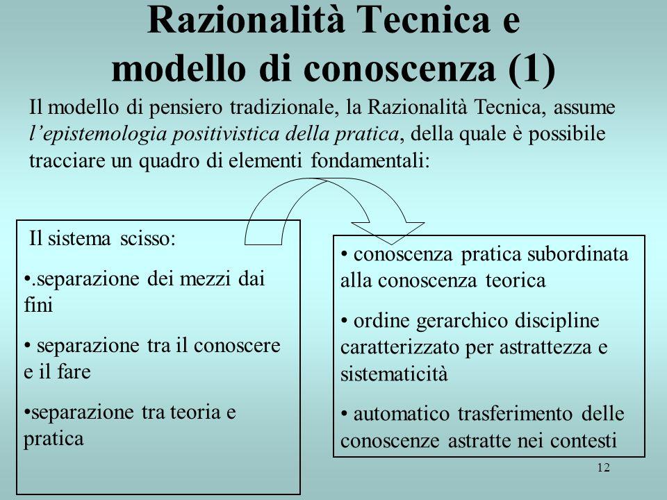 Razionalità Tecnica e modello di conoscenza (1)