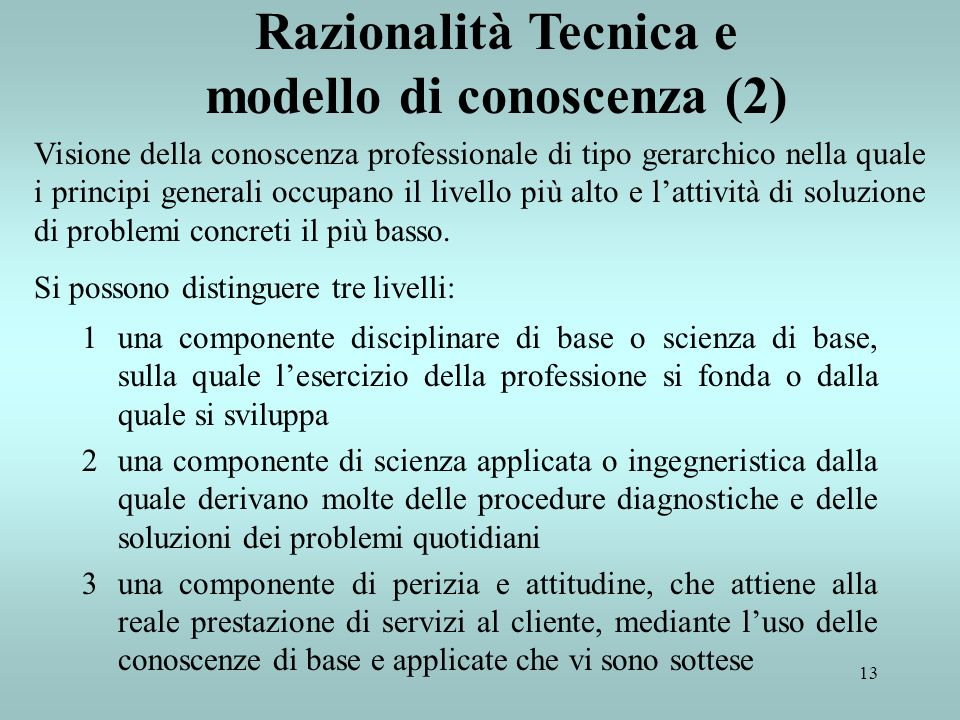 Razionalità Tecnica e modello di conoscenza (2)