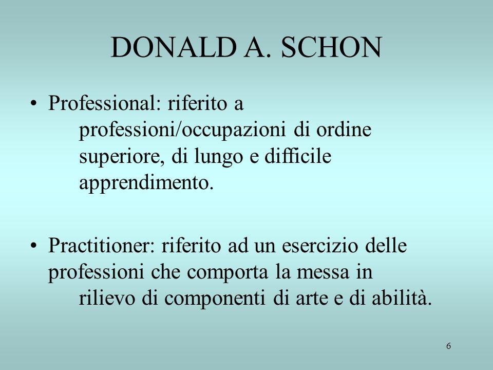 DONALD A. SCHON Professional: riferito a professioni/occupazioni di ordine superiore, di lungo e difficile apprendimento.