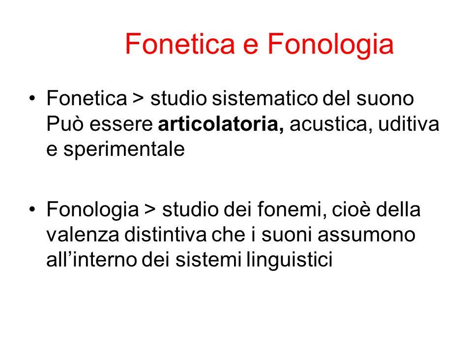 Fonetica e Fonologia Fonetica > studio sistematico del suono Può essere articolatoria, acustica, uditiva e sperimentale.