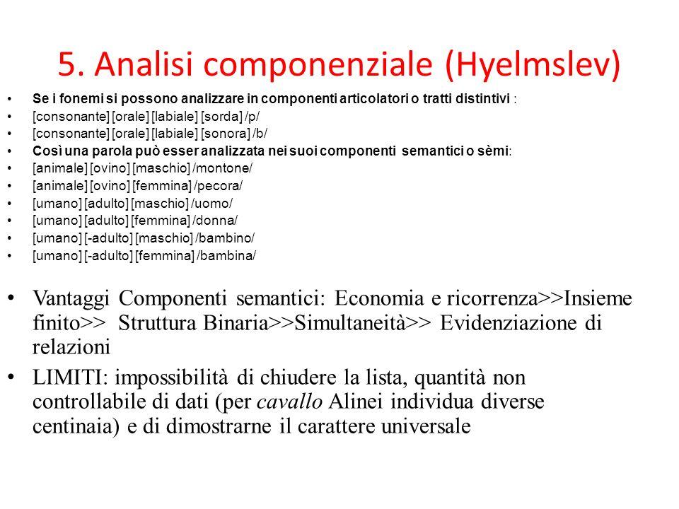5. Analisi componenziale (Hyelmslev)