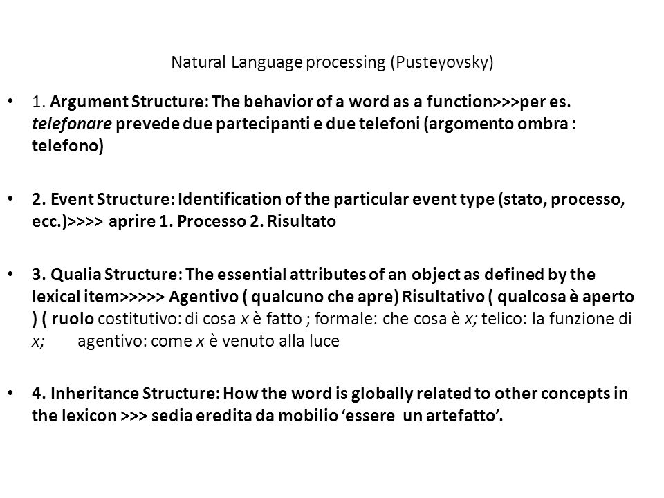 Natural Language processing (Pusteyovsky)