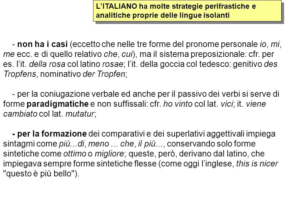 L'ITALIANO ha molte strategie perifrastiche e analitiche proprie delle lingue isolanti