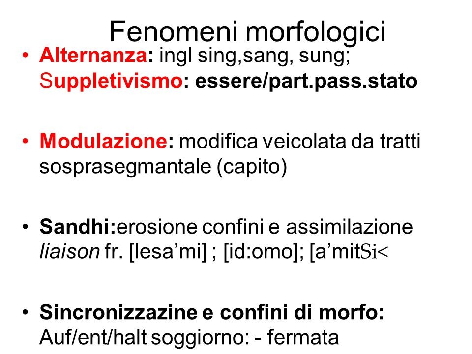 Fenomeni morfologici Alternanza: ingl sing,sang, sung; Suppletivismo: essere/part.pass.stato.