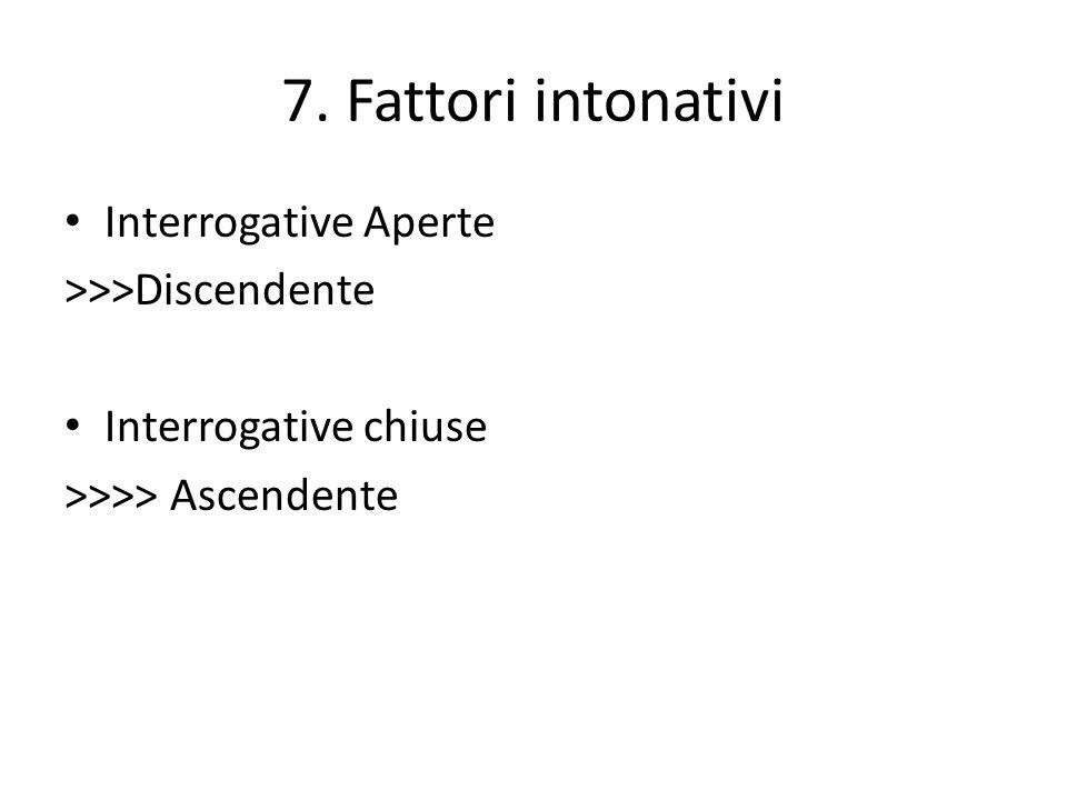 7. Fattori intonativi Interrogative Aperte >>>Discendente