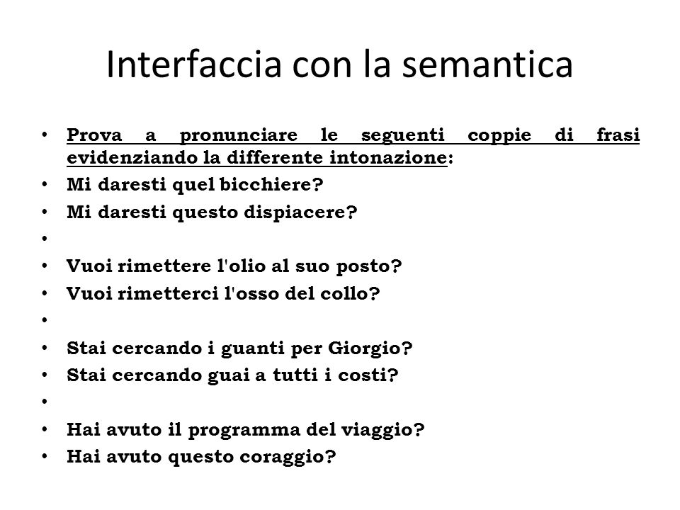 Interfaccia con la semantica